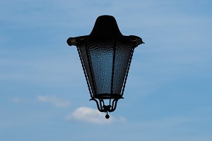 Surrealistic lamp in the sky