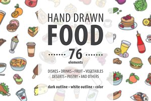 76 hand drawn food elements