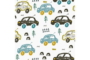 Pattern with hand drawn cars