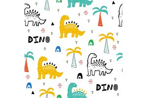 Hand drawn pattern with dinosaurs