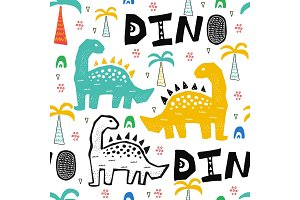 Pattern with dino in tropical forest