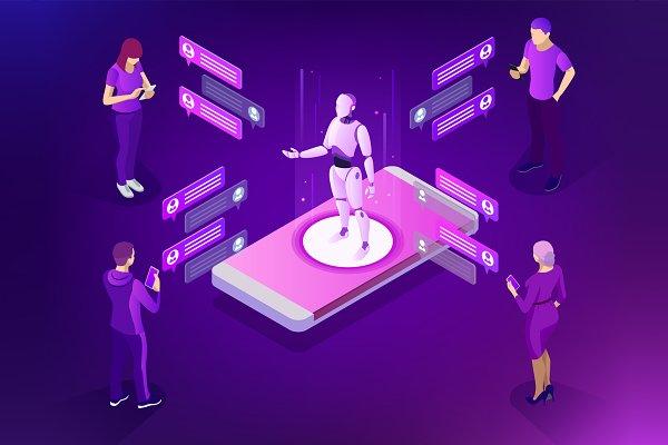 Isometric AI, robot, bot.