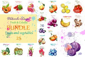 Vector 25 fruits&vegs watercolor