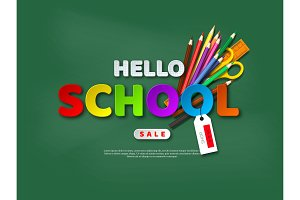 Sale banner with hello school paper