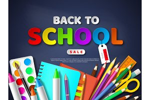 Back to school sale poster with