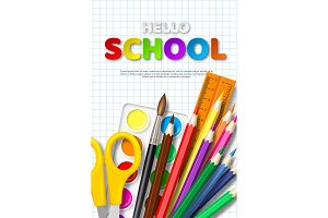 Sale poster with hello school