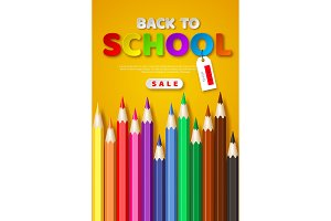 Back to school sale poster with 3d