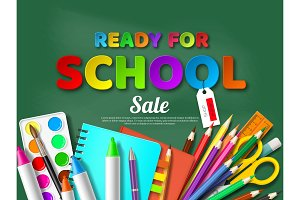 Ready for school sale poster with