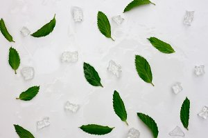 fresh mint leaves and ice