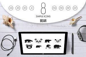 Bear icon set, simple style