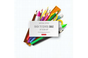 Back to school sale banner with