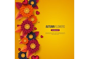 Floral autumn background with 3d