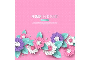 Banner with paper cut 3d flowers in