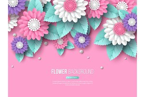 Paper cut 3d flowers banner in pink