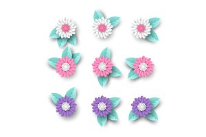 Set of 3d paper cut flowers with