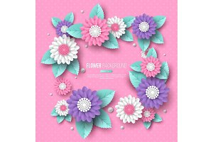 Paper cut 3d flower frame in pink