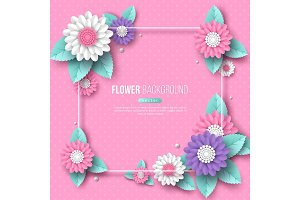 Frame with paper cut 3d flower in