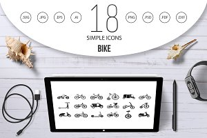 Bike icon set, simple style