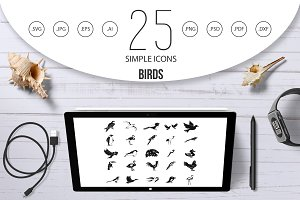 Birds icon set, simple style