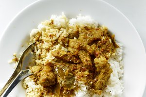 Thai food Rice and Curry with roaste