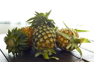 Market Pineapples on wooden