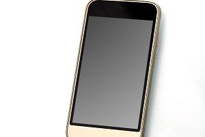 modern touchscreen smartphone on whi