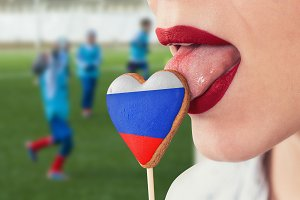 Lips and cookie with flag