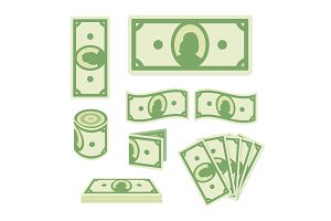 Green dollar banknotes set on white