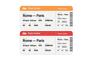 Set of the train boarding pass