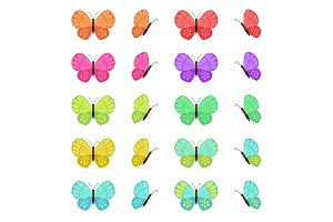 Colored butterflies set