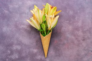 Yellow lily waffle cone