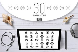 Bugs icon set, simple style