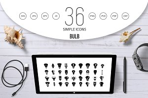 Bulb icon set, simple style