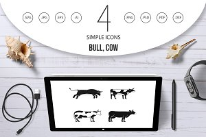 Bull, cow icon set, simple style