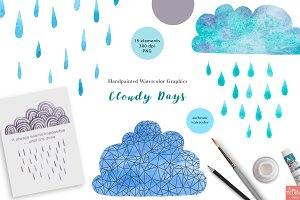 Cloudy Days Watercolor Graphics