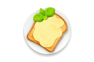 Sandwich with butter and basil leaf