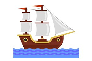 Cartoon Ship with White Sails