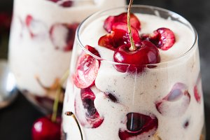 Homemade trifle pudding with freshch