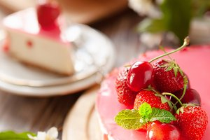 Slice of cheesecake with strawberry