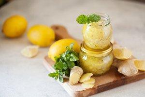 Homemade lemon, ginger and mint jam.