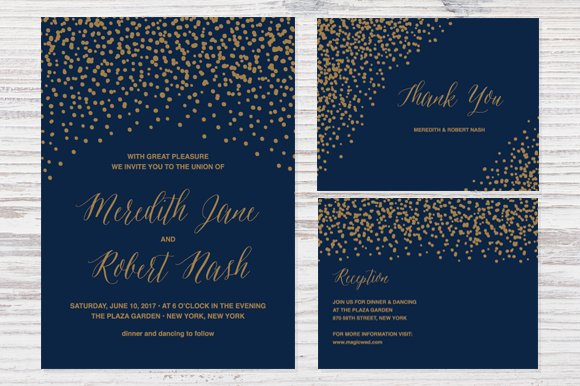 Confetti Wedding Invitation Invitation Templates Creative Market - Wedding invitation templates: template for wedding invitations