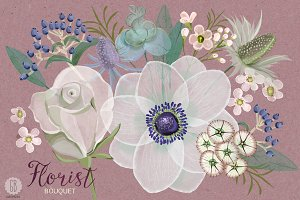 Watercolor florist bouquet anemone