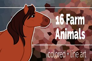 16 Farm Animals clip art set