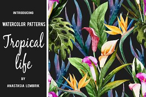 "Watercolor patterns ""Tropical life"""