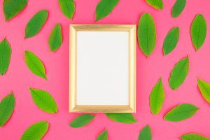 Flat lay with green leaves and frame