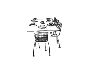 Hand Drawn wares. Dinner. Serving