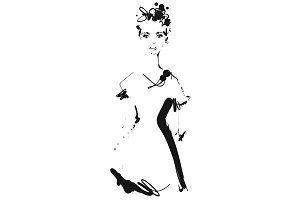 Fashion models silhouettes sketch