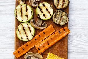 Grilled vegetables on wooden board