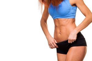 young female body in fitness sports
