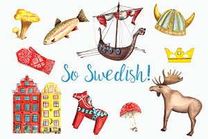 So Swedish - Watercolor Clip Art Set